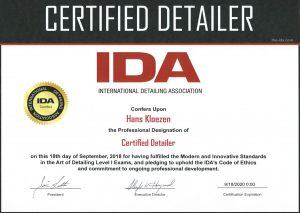 IDA Certified Detailer Certificate