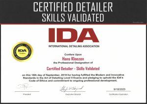 IDA CD-SV Certificate